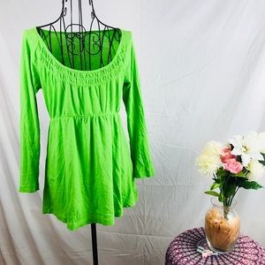 J crew green babydoll pleated front green blouse